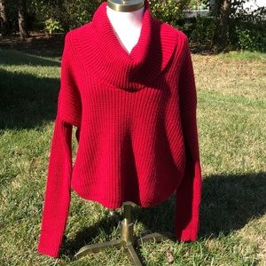 Express brick red cowl neck sweater